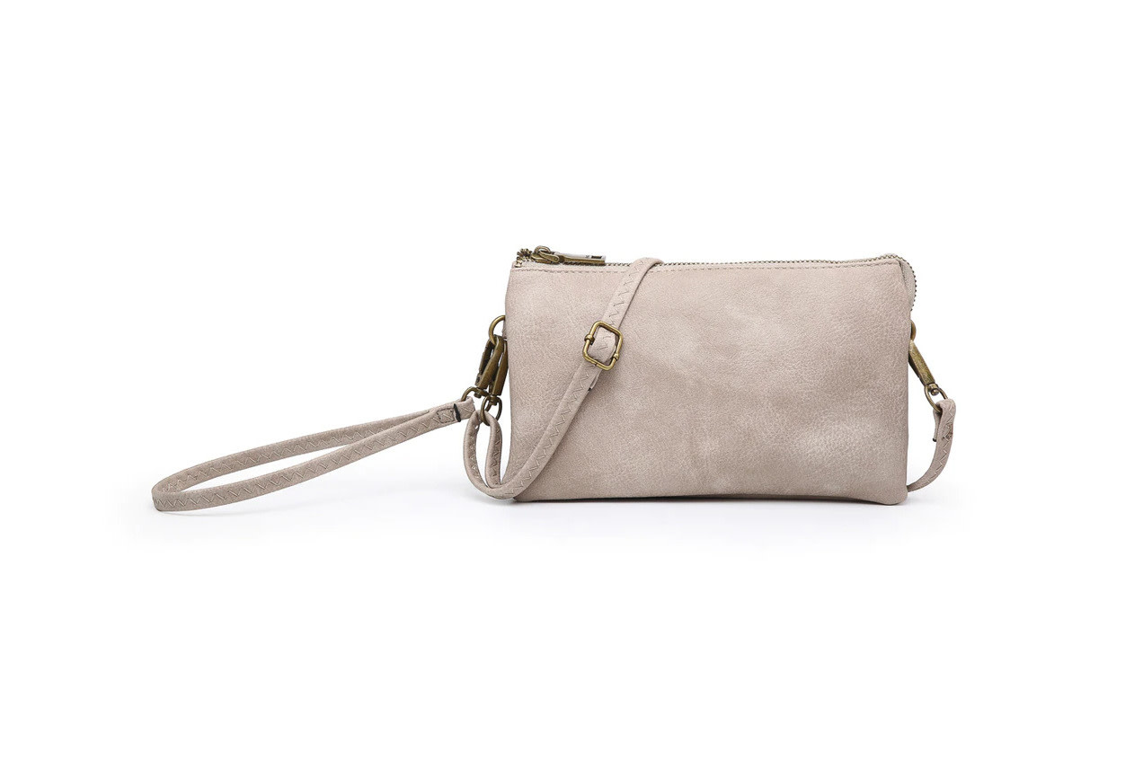 Riley Distressed Monogrammable 3 Compartment Crossbody/Wristlet Lt Stone