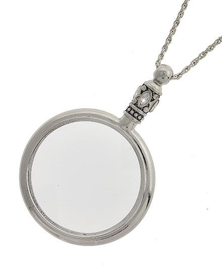 GLASS PENDANT LONG NECKLACE - ANTIQUE RHODIUM - 467948