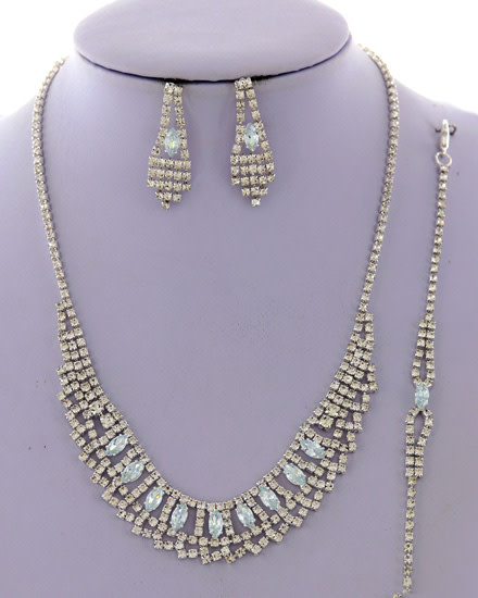 NECKLACE  EARRING  SET - SILVER/CLEAR - 585841