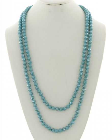 GLASS BEADS LONG NECKLACE - LIGHT BLUE/AB - 588958