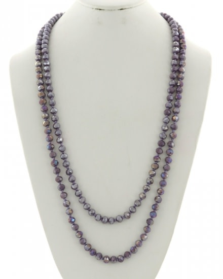 GLASS BEADS LONG NECKLACE - LAVENDER/AB - 588974