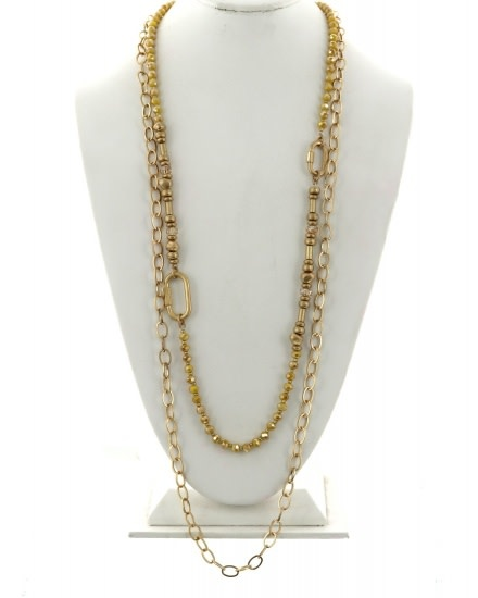 MULTI STRAND GLASS METAL LONG NECKLACE - WORN GOLD / YELLOW - 589579