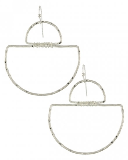 METAL DANGLE EARRING SET - WORN SILVER - 590176