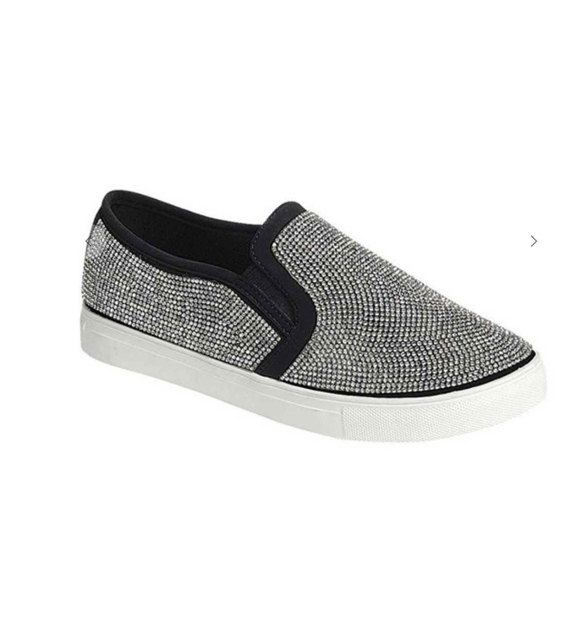 Slip on shoe with white Rubber Sole, Silver Trim and Silver Bling