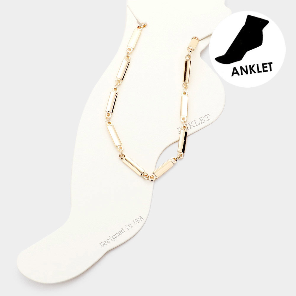 Metal Rectangle Link Anklet - Gold AK0091-GDXX