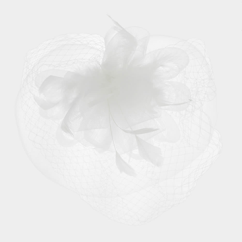 Flower Feather Mesh Fascinator / Headband  FH2296-WH