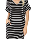 Stripe rolled short sleeve v-neck dress