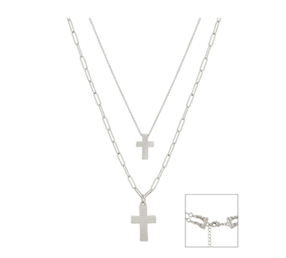 Double Layer Cross Matte Silver QNE2462