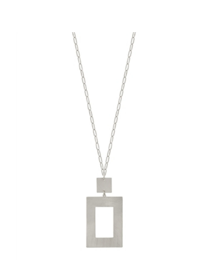 MATTE SILVER METAL SQUARE WITH GLD CHAIN  qne2722ms