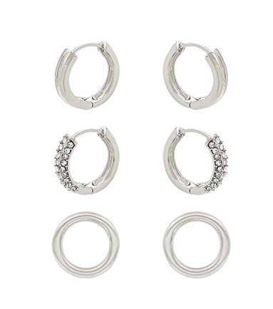 Set of 3 Huggie and Circle Stud Earrings QE3028CRY