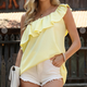 One shoulder blouse light yellow