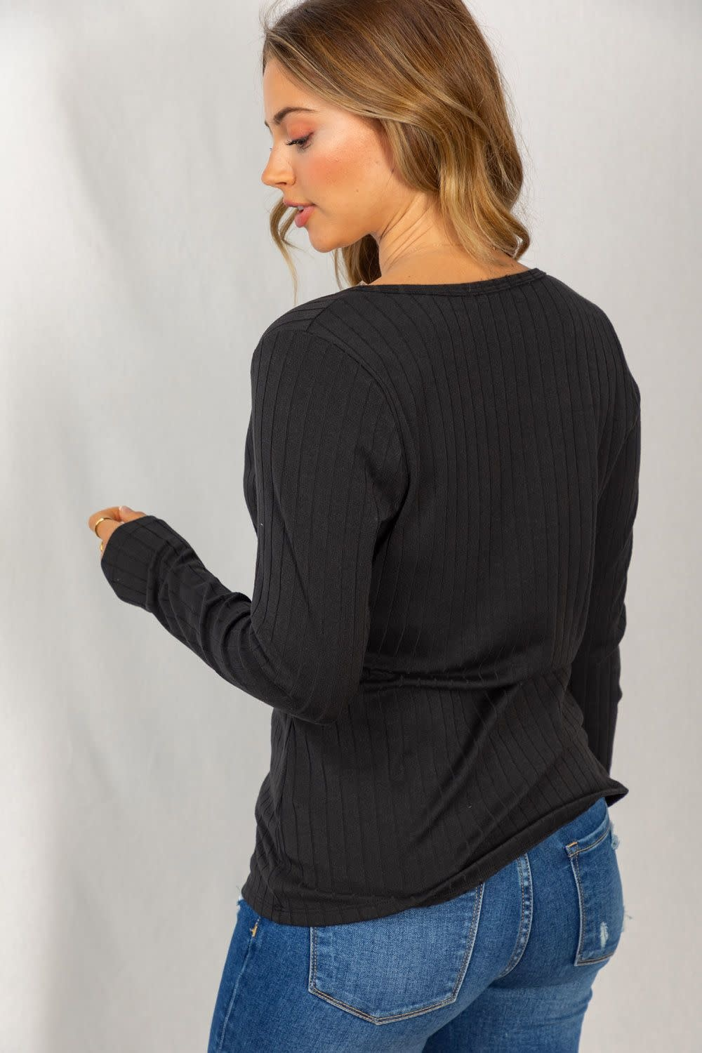 Just Because Long Sleeve Faux Wrap Top