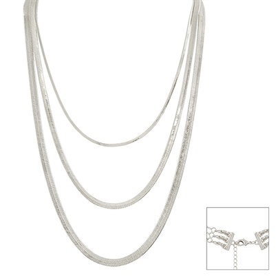 LAYERED MULTI FUNCTION NECKLACE QNE2505SIL