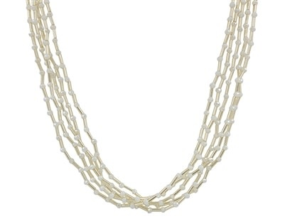"""White Seed Bead and Gold Layered 16""""-18"""" Necklace CNE3135"""