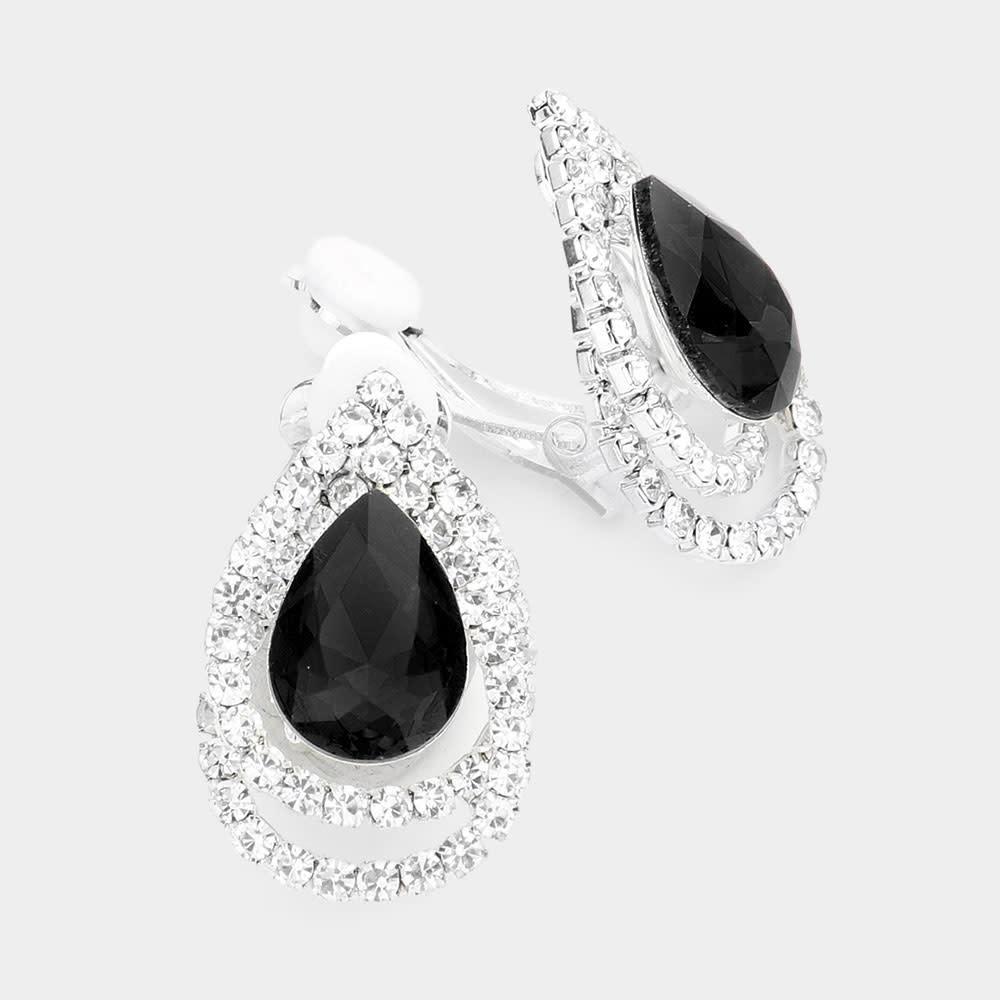 Teardrop Accented Rhinestone Trimmed Clip On Evening Earrings