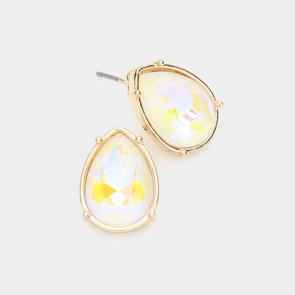 Teardrop Stone Stud Earrings