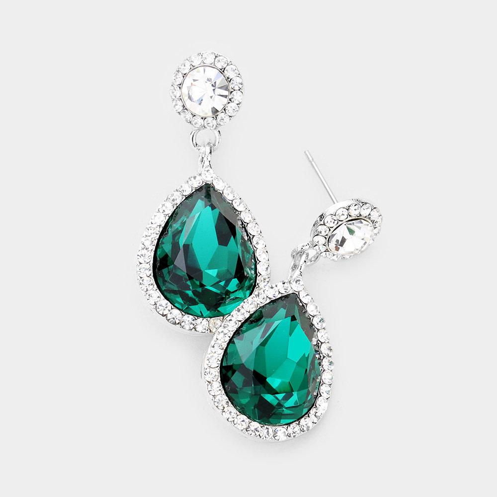 Rhinestone Trim Teardrop Crystal Evening Earrings
