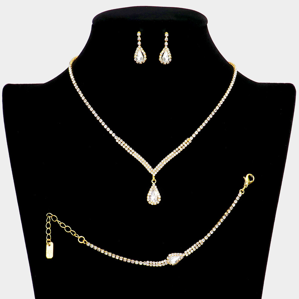 3PCS - Rhinestone Pave Teardrop Dangle Necklace Jewelry Set