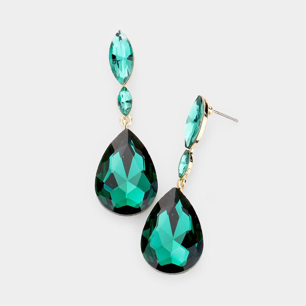 Double Crystal Teardrop Drop Evening Earrings  434252