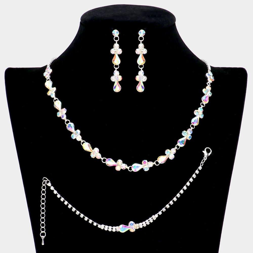 Teardrop Stone Accented Rhinestone Necklace Jewelry Set ing Earrings
