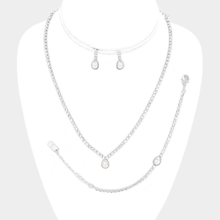 3PCS - Teardrop Pearl Accented Rhinestone Necklace Jewelry Set