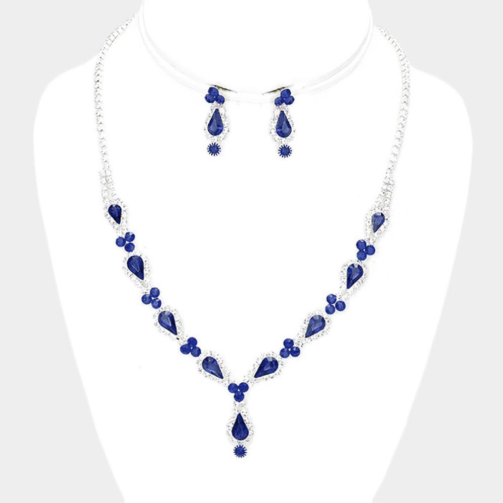 Rhinestone Pave Crystal Teardrop Detail Necklace