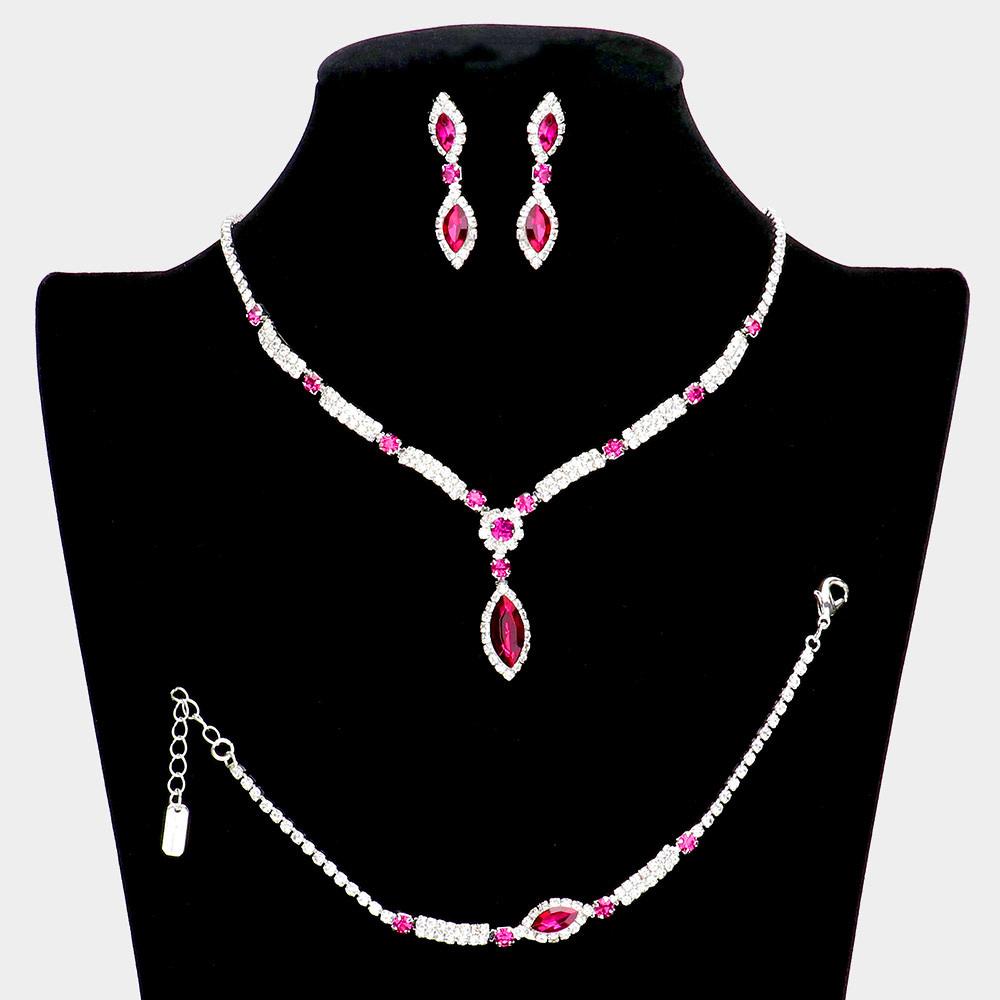 3PCS - Marquise Stone Accented Rhinestone Necklace Jewelry Set
