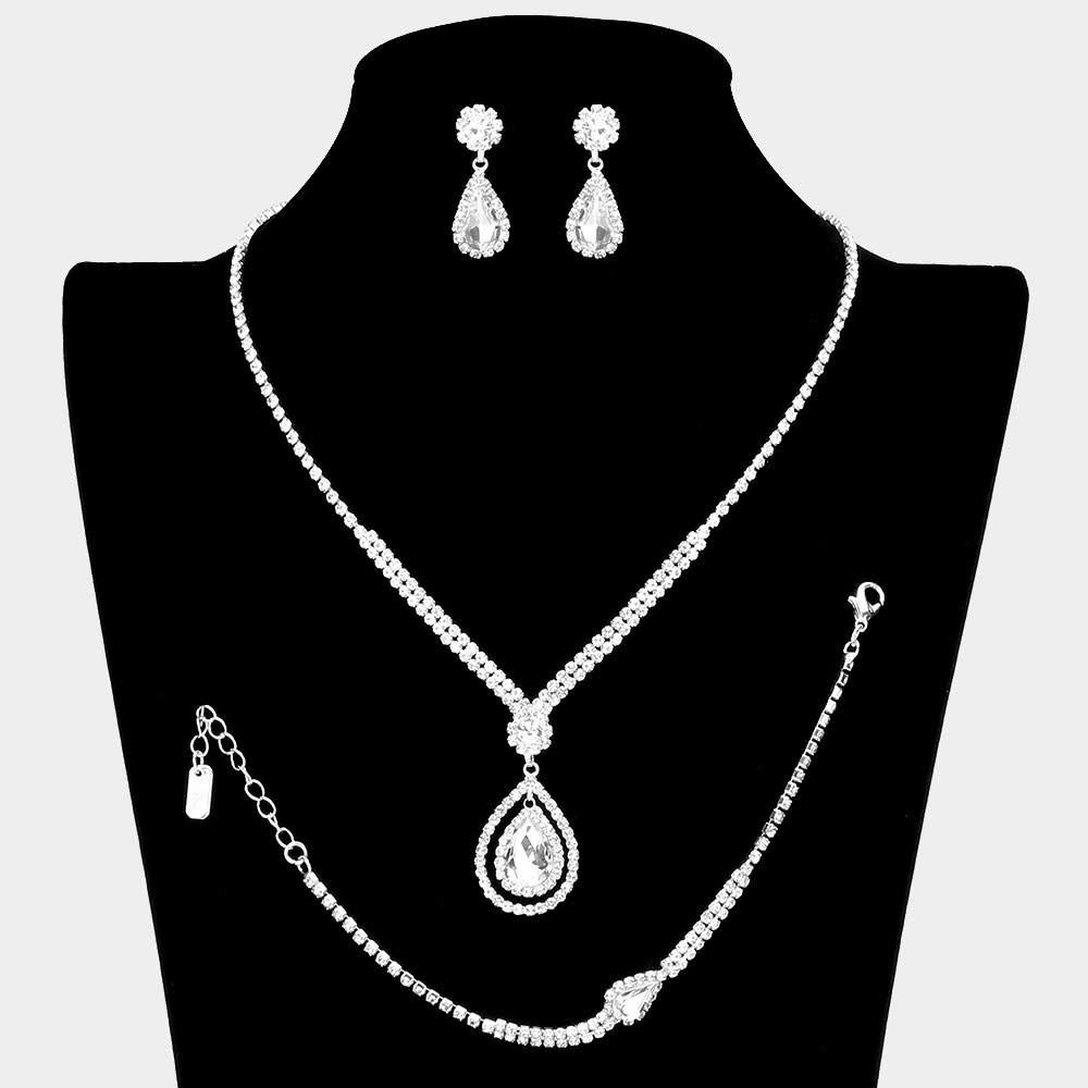 3PCS - Teardrop Stone Accented Rhinestone Necklace  510136