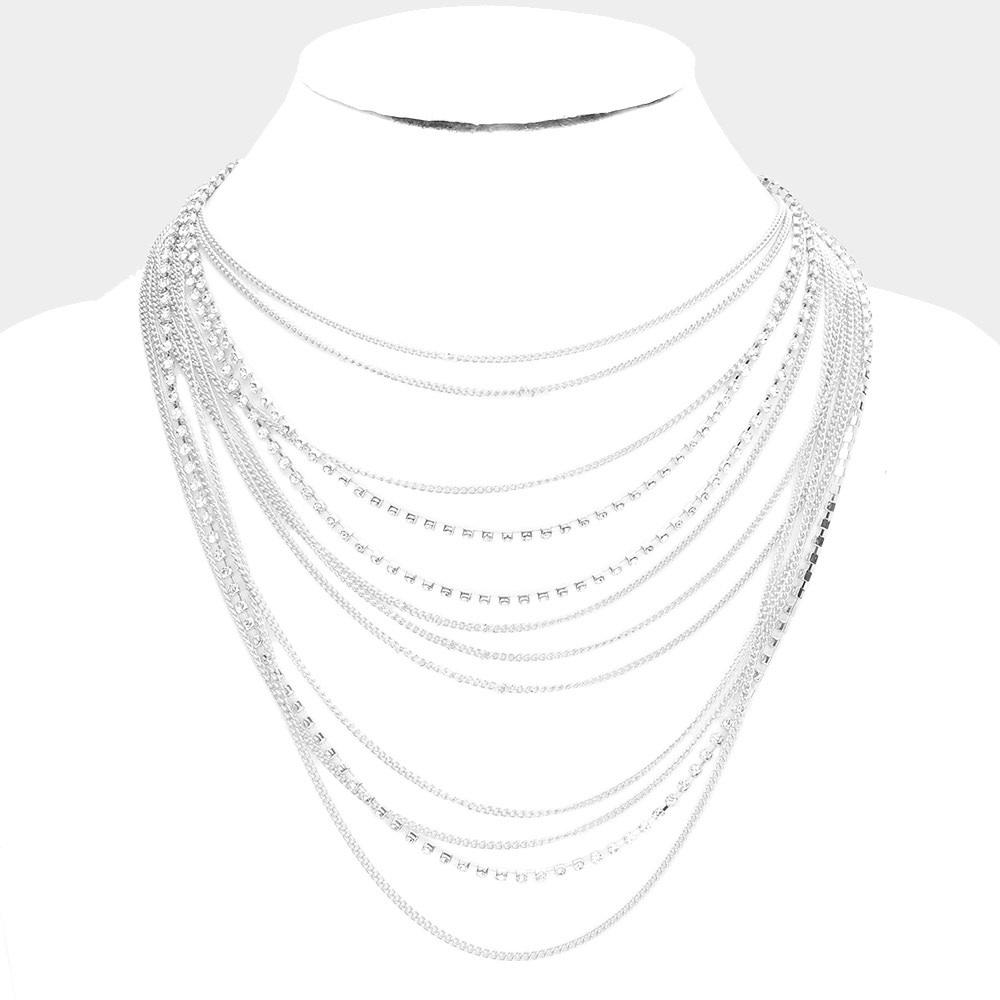 Rhinestone Pointed Metal Chain Multi Layered Bib Necklace 514797