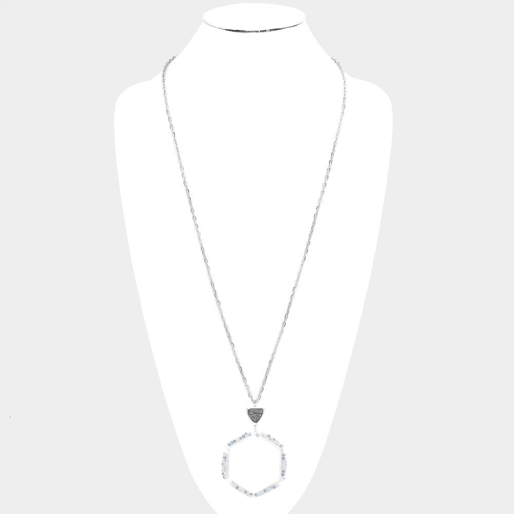 Semi Precious Triangle Wrapped Faceted Bead Open Metal Hexagon Link Pendant Long Necklace 519138