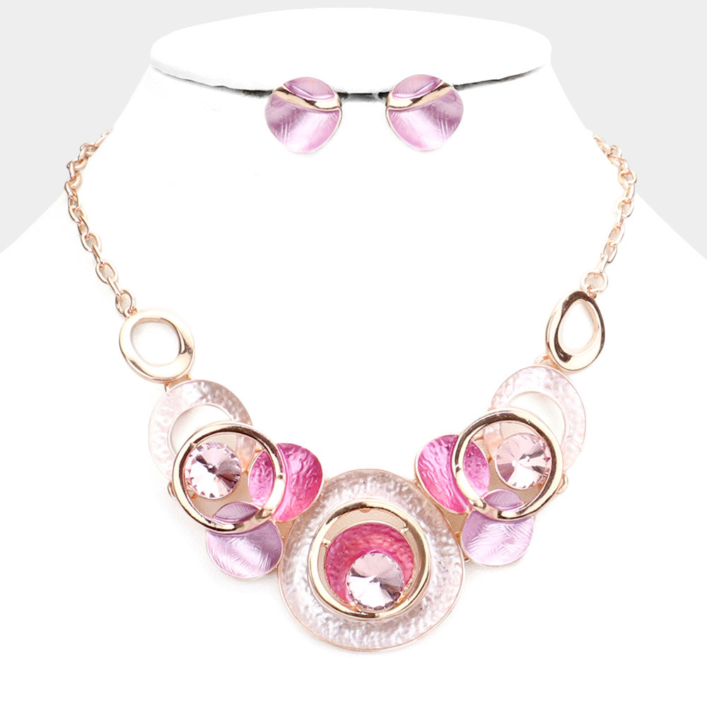 Triple Round Stone Embellished Geometric Colored Metal Cluster Necklace