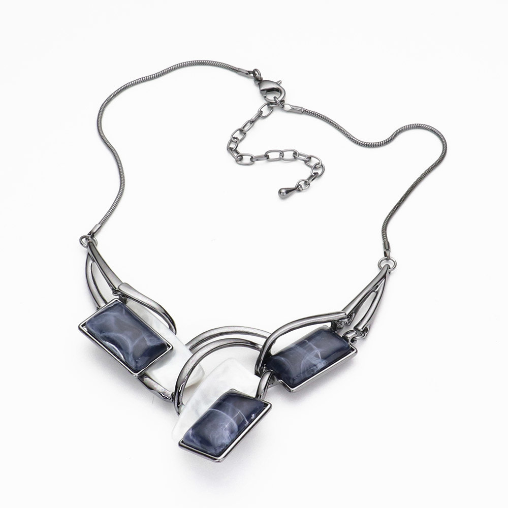 Marbled Rectangle Bead Statement Necklace
