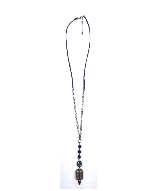 NK-THIN W/CHAIN &SUEDE BACK & BEADED DROP BH607