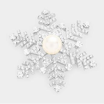 Pearl Center Rhinestone Snowflake Brooch 353
