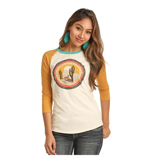 Ladies Desert Scene Baseball Tee