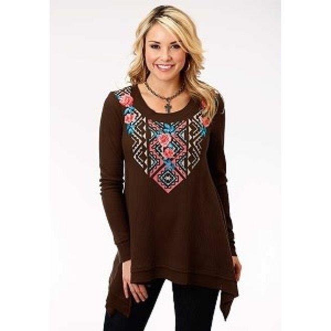 Ladies Brown Aztec Emb Top