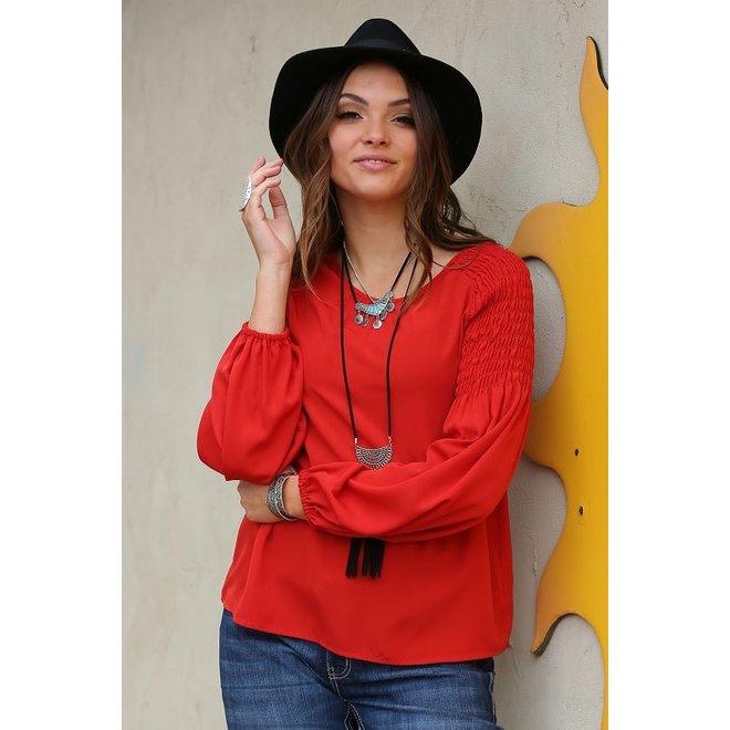 Ladies Red Peasant Blouse