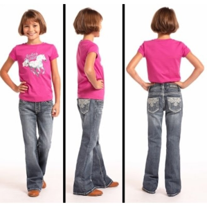 Girls Aztec Med Wash Jean
