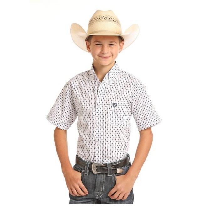 Boys White Print SS Shirt