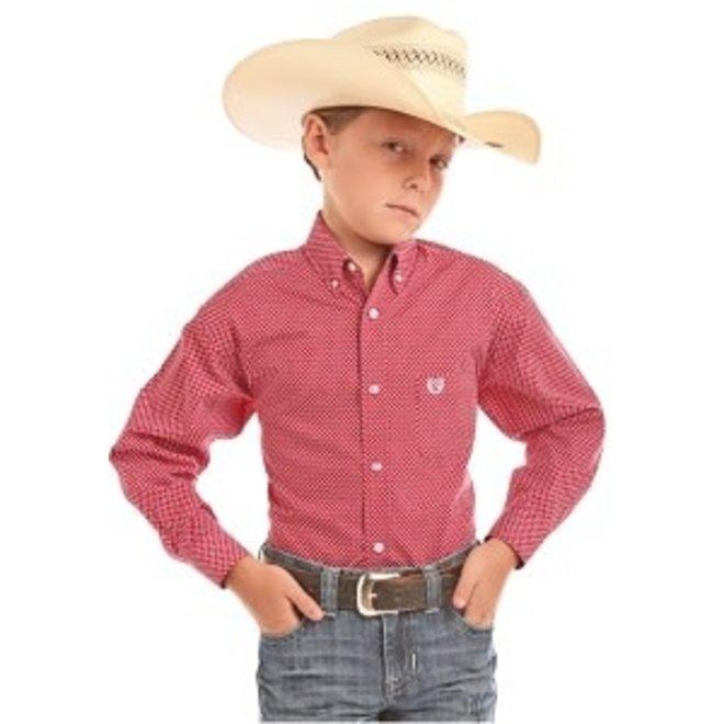 Boys Red Print Shirt