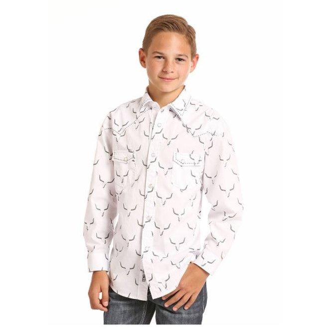 Boys Lnghn Print Snap Shirt