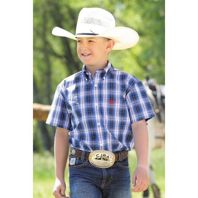 Boys Cinch Blu Plaid Shirt