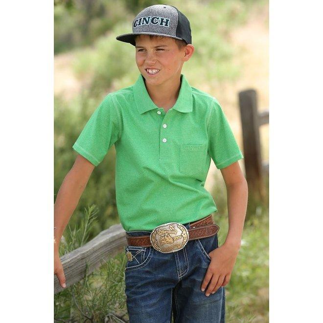 Boys Heathered Green Polo Shirt