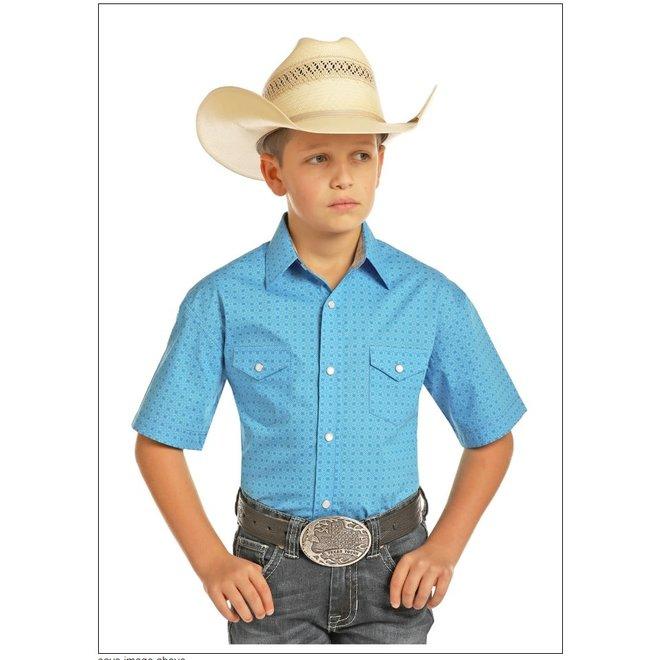 Boys Blue Cotton Print Snap Shirt