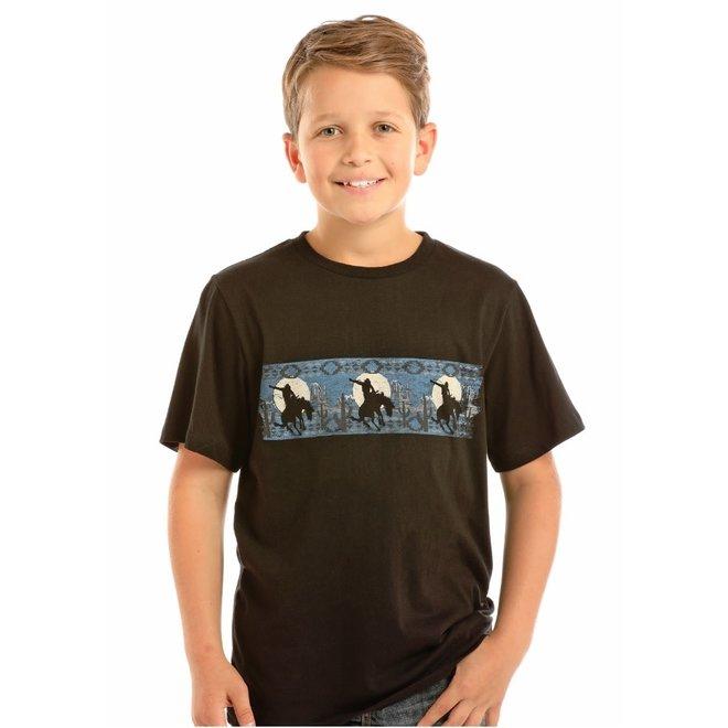 Boys Black Bronc Border T-Shirt