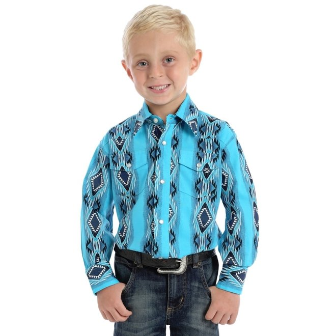 Boys Turquoise Checotah Western Snap Shirt