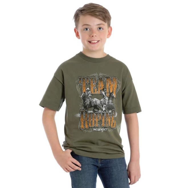 Boys Green Team Roping Tee
