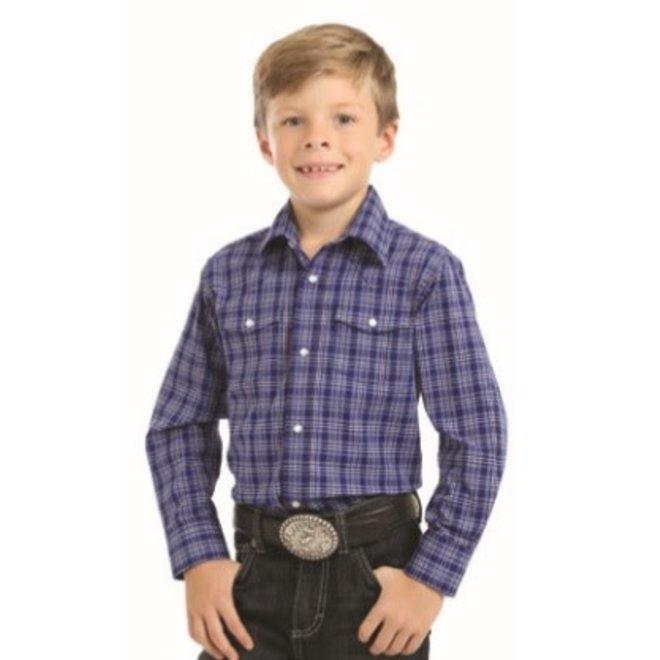 Boys Blue Navy Plaid Western Snap Shirt