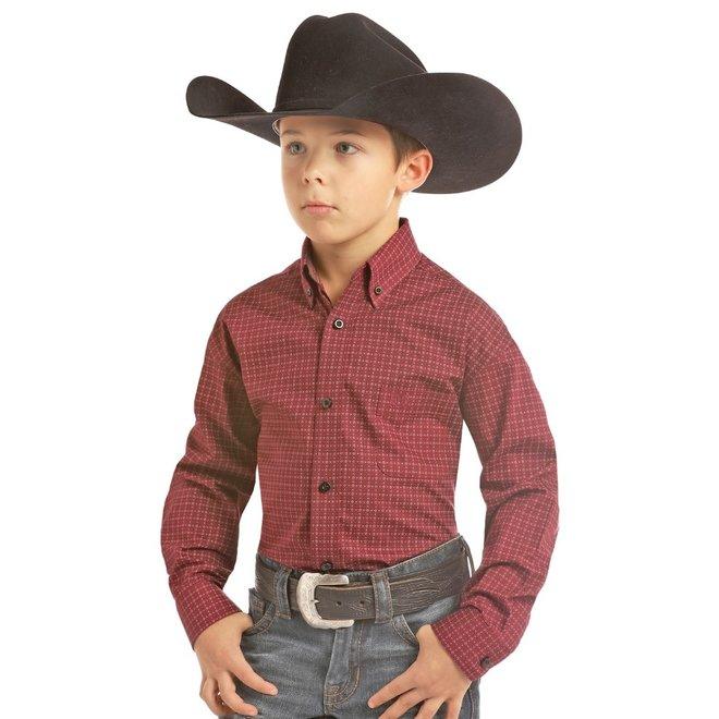 Boys Wine Brushed Poplin Shirt