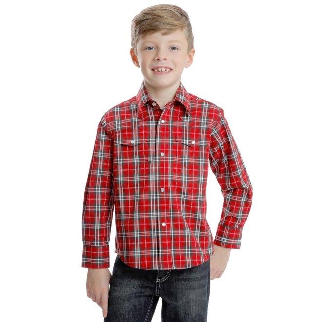 Boys Red Plaid Snap Shirt